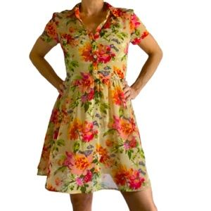 Band of Gypsies Tan/Pink Floral Dress Size Small